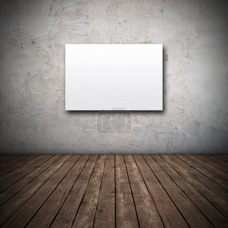 Photo pour Toile blanche sur mur sale - rendu 3D - image libre de droit