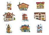 Vintage facades - set - cartoon