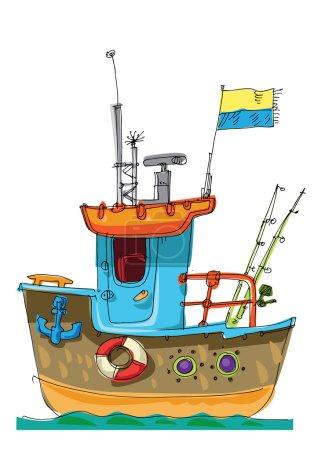 Illustration for Fish-boat - cartoon - caricature - Royalty Free Image