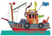 Fish-boat - cartoon - caricature