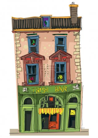 Old cafe facades - cartoon