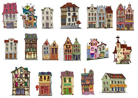 Vintage facades - set - cartoon