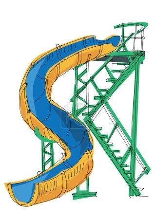 Illustration pour Caricature de parc - slide - eau - image libre de droit