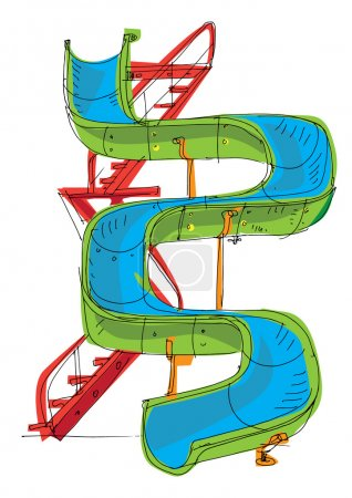 Water park - slide - cartoon