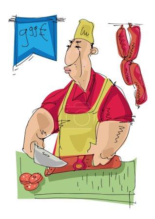 Illustration pour Boucher - dessin animé - image libre de droit