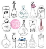 The bottles of perfume on a white background