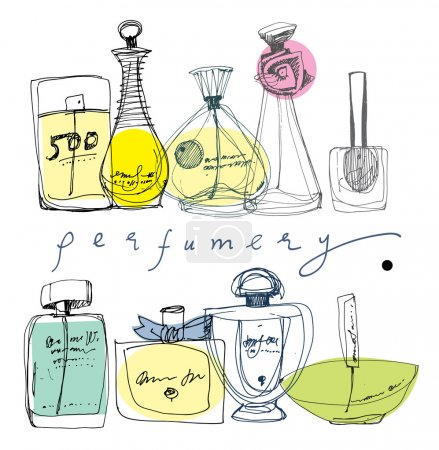 Illustration for The bottles of perfume on a white background. - Royalty Free Image