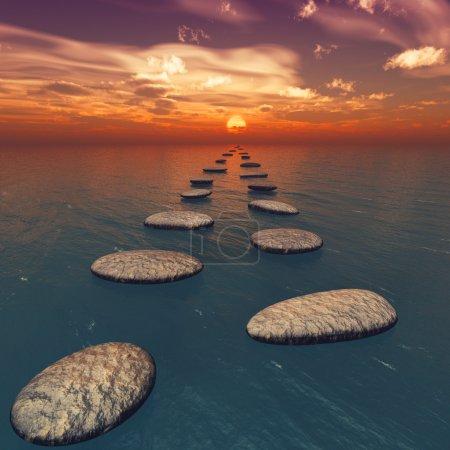 Photo pour Les pierres dans l'eau. Le coucher de soleil. Images au format carré - image libre de droit