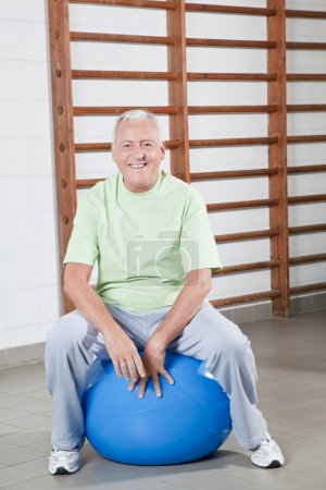 Senior Man Sits on a Fitball