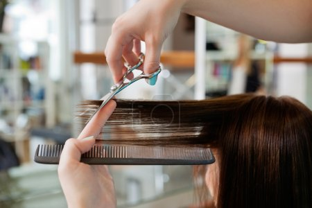 Photo for Close up of beautician's hand with a comb cutting hair of woman - Royalty Free Image