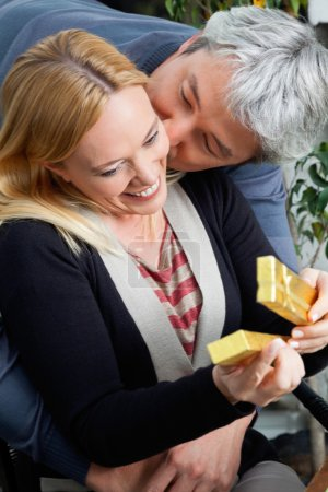 Middle Aged Man Kissing Woman