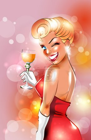 Illustration for Sexy retro woman drinking alcohol - Royalty Free Image