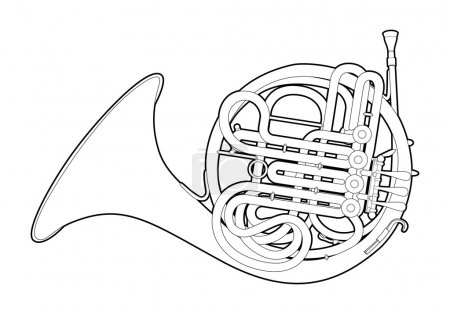 Illustration for Vector illustration of French horn on white background - Royalty Free Image
