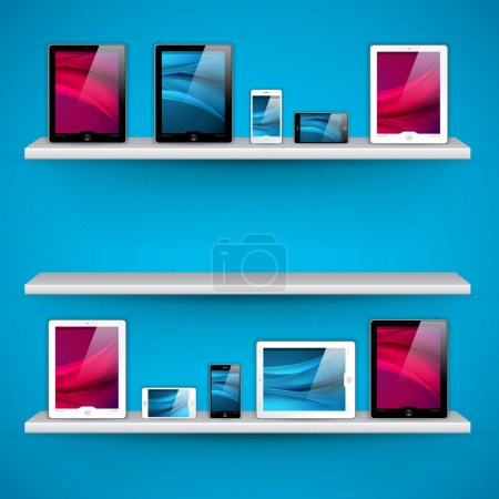 Shelves with devices