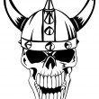 The vector image a skull in an ancient helmet of V...