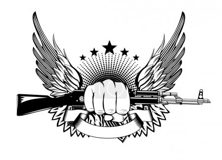 Illustration for Vector illustration fist wings and akm - Royalty Free Image