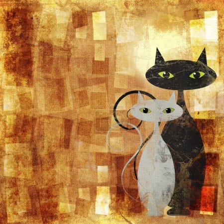Photo pour Chat noir et blanc sur toile grunge orange - image libre de droit