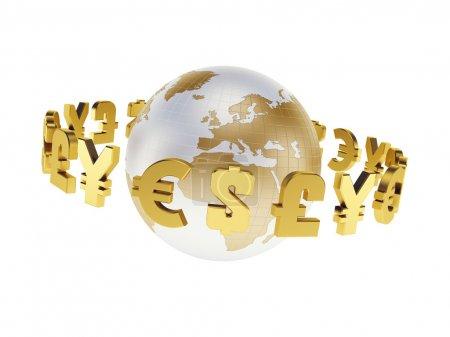 Photo pour Principales devises mondiales, rendu 3d isolé - image libre de droit