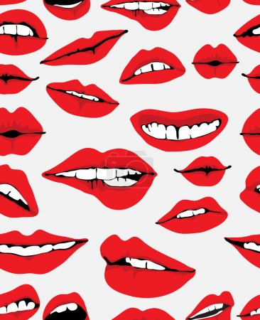 Seamless background with different red lips