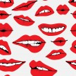 Seamless background with different red lips over g...