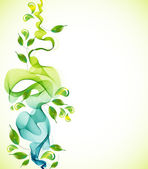Abstract green background with wave and drops