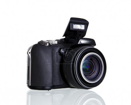 Camera with mirror image isolated over white