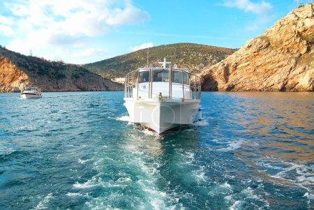 Motor boat cruising the sea
