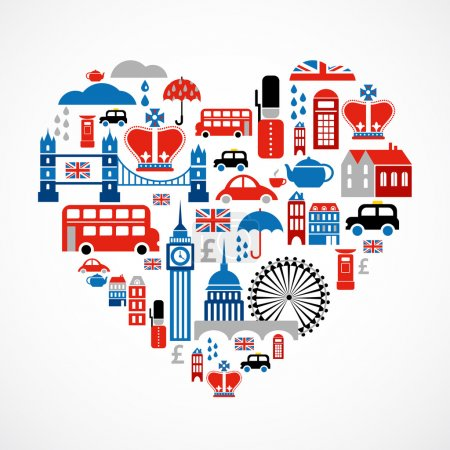 Illustration for Heart shape with collection of London icons - Royalty Free Image