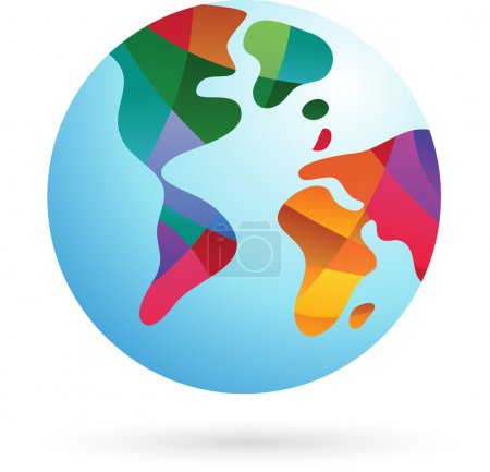 Illustration for Colorful world, Earth icon, vector illustrartion - Royalty Free Image