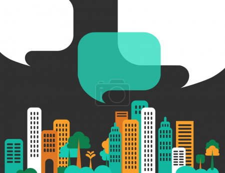 City talks, buildings and speech bubbles. Vector...