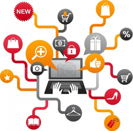 Illustration for Internet shopping with leptop and icons, vector illustration - Royalty Free Image