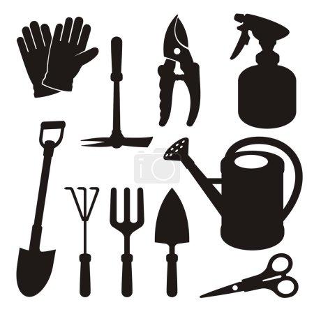 Illustration pour Un ensemble d'icônes de silhouette d'outil de jardinage isolées sur fond blanc . - image libre de droit