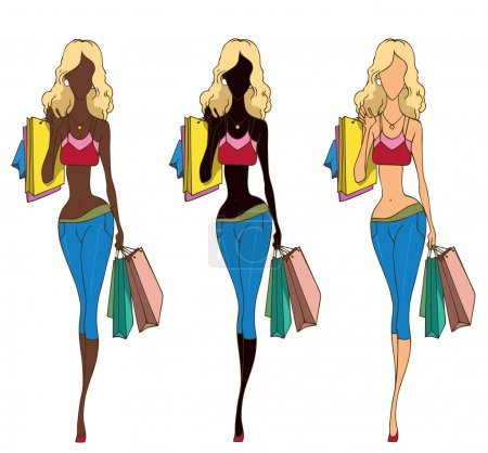 Photo for Fashion shopping girls with the shopping bags - Royalty Free Image