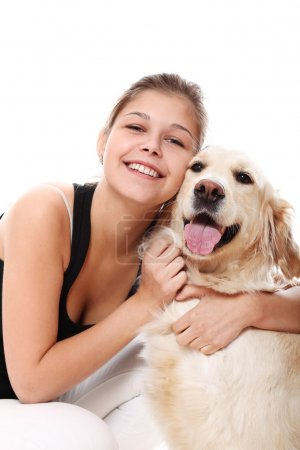 Happy woman and her beautiful dog