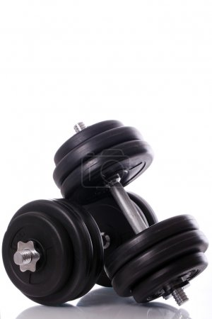 Big dumbells over white background