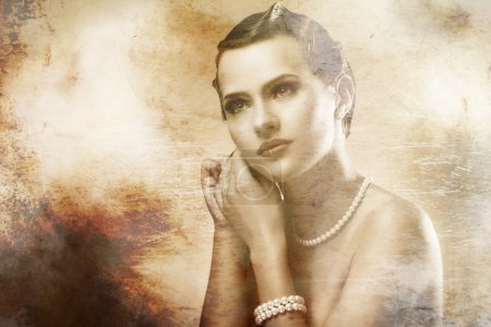 Portrait of beautiful woman with old photo effect