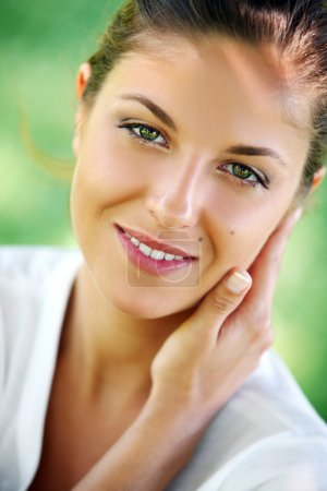 Photo for Outdoors portrait of young and beautiful woman with clean face - Royalty Free Image
