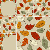 Autumn vector set: 2 frames and 4 seamless patterns with autumn leaves fully editable file with clipping masks you will find patterns in swatch menu