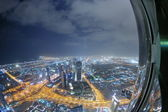Panorama of down town Dubai city at night
