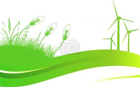 Illustration pour Illustration avec herbe verte et éolienne - image libre de droit