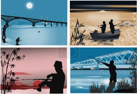 Four illustrations with fishermen at night