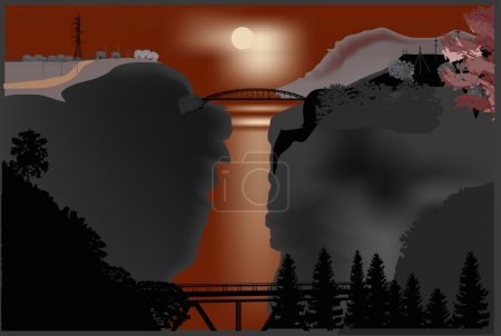 Illustration for Illustration with bridges above precipice - Royalty Free Image