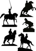 Illustration with set of horseman statues isolated on white bacground