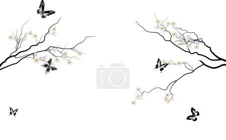 Illustration pour Illustration avec des fleurs de cerisier et des papillons sur fond blanc - image libre de droit