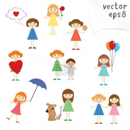 Illustration pour Collection vectorielle de petites filles de dessin animé mignon - image libre de droit
