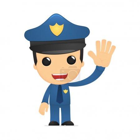 Illustration pour Drôle de policier de bande dessinée dans diverses poses pour une utilisation dans la publicité, présentations, brochures, blogs, documents et formulaires, etc. . - image libre de droit