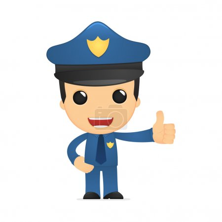 Illustration for Funny cartoon policeman in various poses for use in advertising, presentations, brochures, blogs, documents and forms, etc. - Royalty Free Image