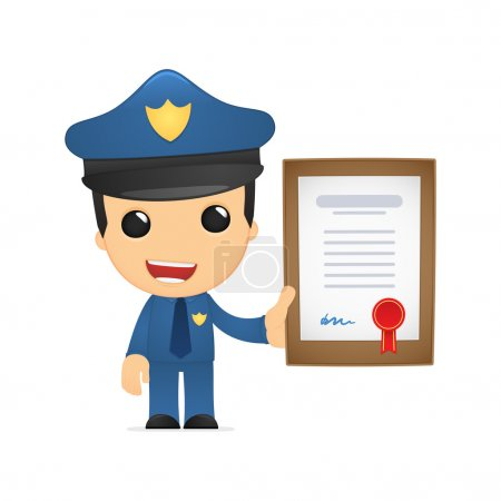 Funny cartoon policeman in various poses for use i...