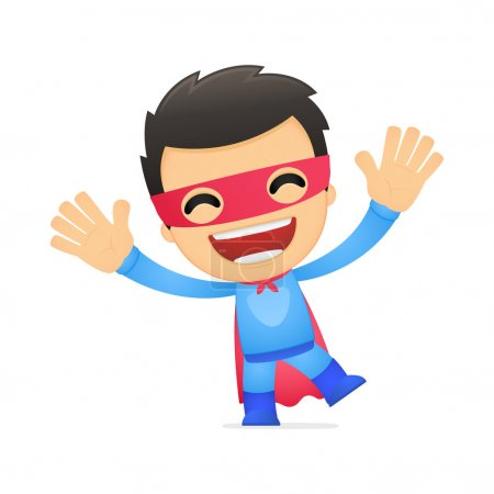 Illustration for Funny cartoon superhero in various poses for use in advertising, presentations, brochures, blogs, documents and forms, etc. - Royalty Free Image