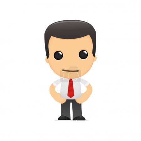 Illustration pour Gestionnaire de dessin animé drôle dans diverses poses pour une utilisation dans la publicité, présentations, brochures, blogs, documents et formulaires, etc. . - image libre de droit